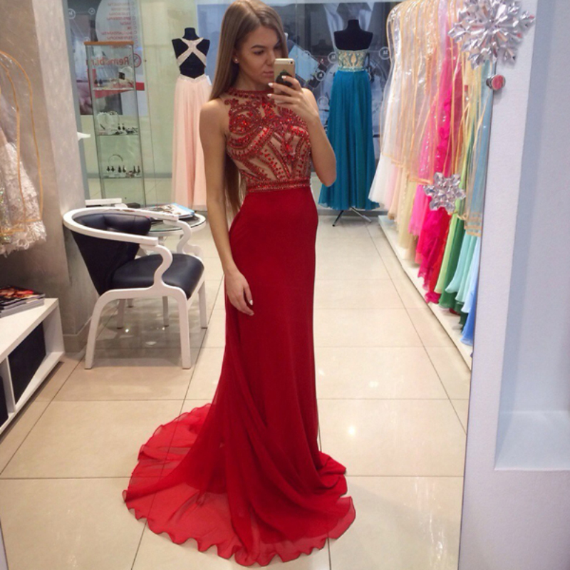 Sleeveless Evening Dress, 2018 New Arrival Formal Dress, Red Evening Dress, Beaded Evening Dress, Mermaid Evening Dress, Chiffon Evening Dress, Evening Dresses 2018, Elegant Evening Dress, Women Formal Dress, Cheap Evening Dress