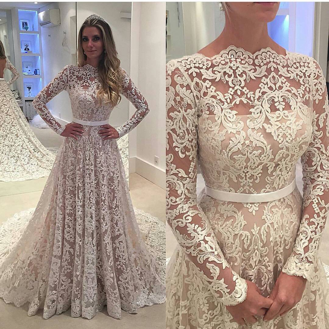 Long Sleeve Prom Dress, A Line Prom Dress, Lace Applique Prom Dress, Elegant Prom Dress, Modest Prom Dress, Ivory Prom Dress, Prom Dresses 2018, Vestido De Festa, Cheap Graduation Dresses