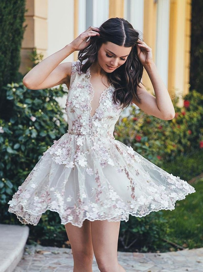 Floral Homecoming Dress, Short Homecoming Dress, Short Homecoming Dress, Lace Homecoming Dress, Cocktail Dress, Deep V Neck Homecoming Dress, Homecoming Dresses 2018, A Line Prom Dress