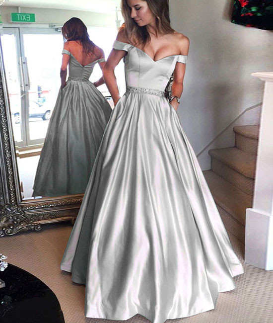 Natural Simple Elegant 2018 Blue Bridesmaid Dresses With: Silver Prom Dress, A Line Prom Dress. Prom Dresses 2018