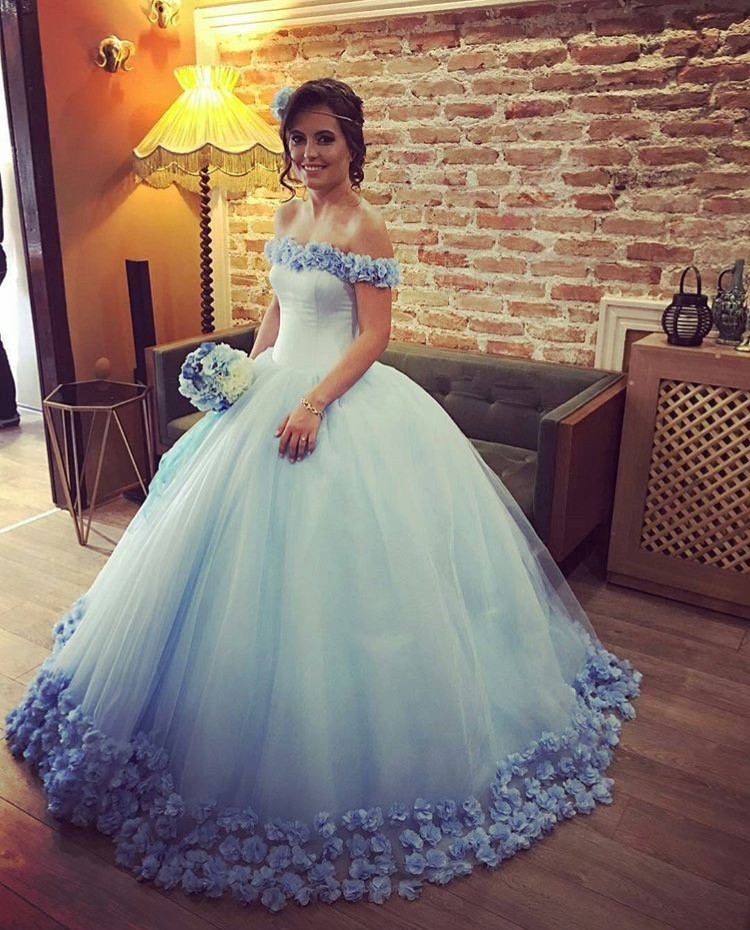 Blue Wedding Dress, Floral Wedding Dress,