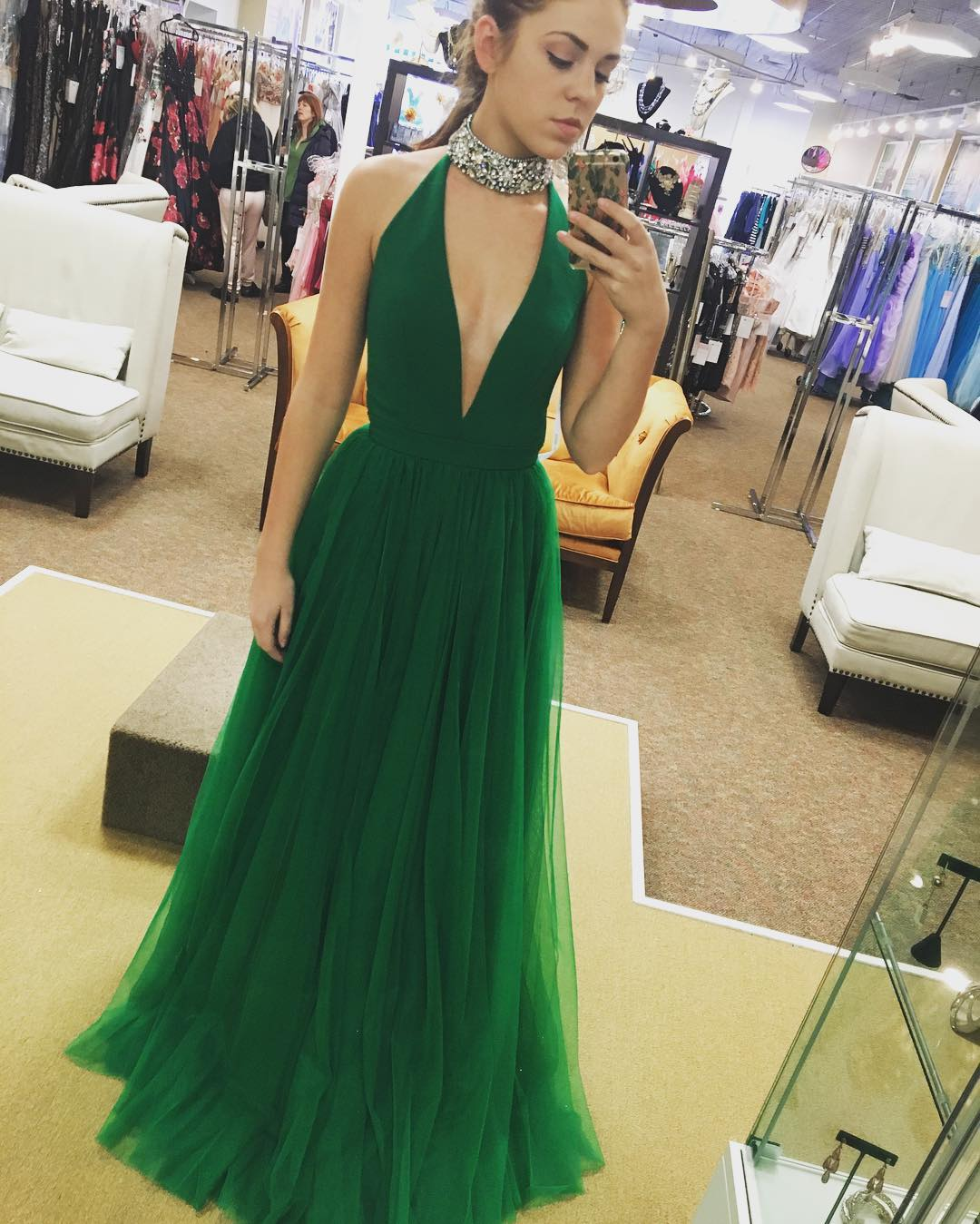Beaded Prom Dress, High Neck Prom Dress, V Neck Prom Dress, Green Prom Dress, Tulle Prom Dress, Sexy Prom Dress, Prom Dresses 2018, Cheap Prom Dress, Vestido De Festa, Elegant Prom Dress, A Line Prom Dress, Women Formal Dress