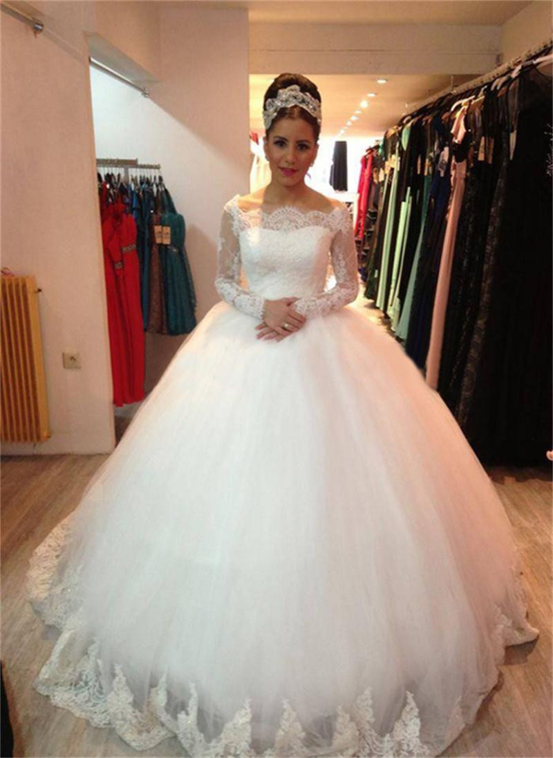 Elegant Wedding Dress, Wedding Ball Gown, Boat Neck Wedding Dress ...