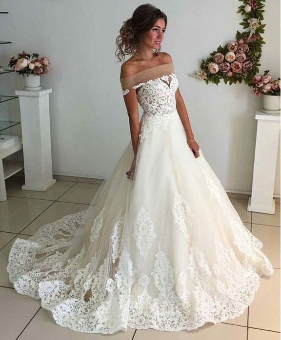 74f99103f084 A Line Wedding Dress, Simple Wedding Dress, Lace Applique Wedding Dress, Off  Shoulder Wedding Dress, Elegant Wedding Dress, Wedding Dresses 2018, Vestido  De ...