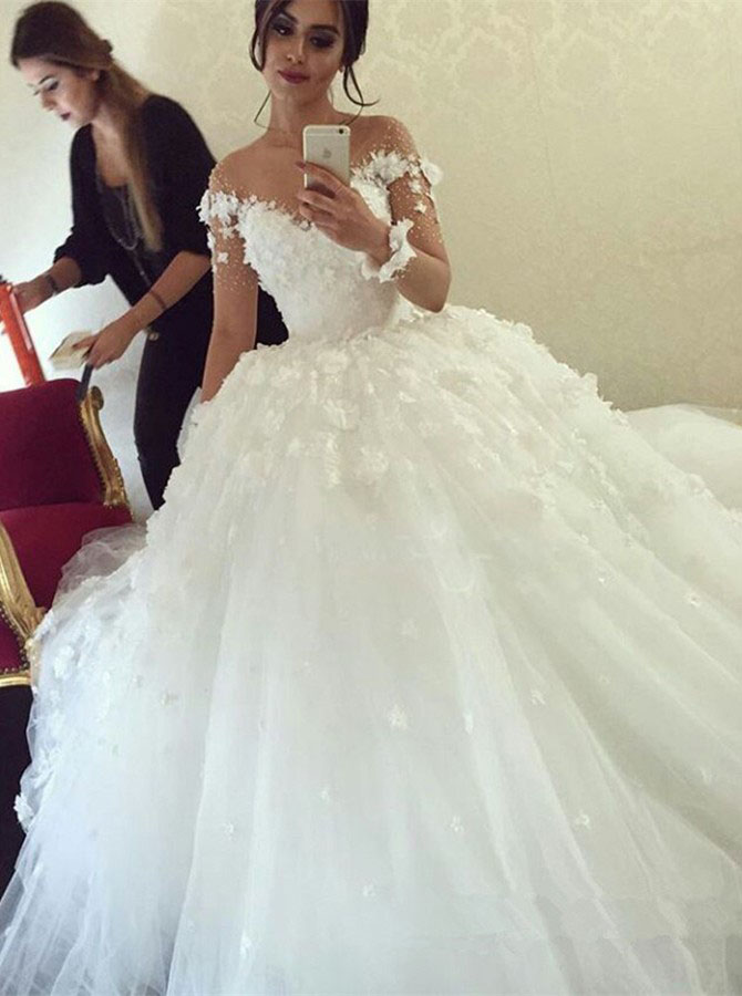 Flowers Wedding Dress Ivory Ball Gown Lace Lique Elegant Princess