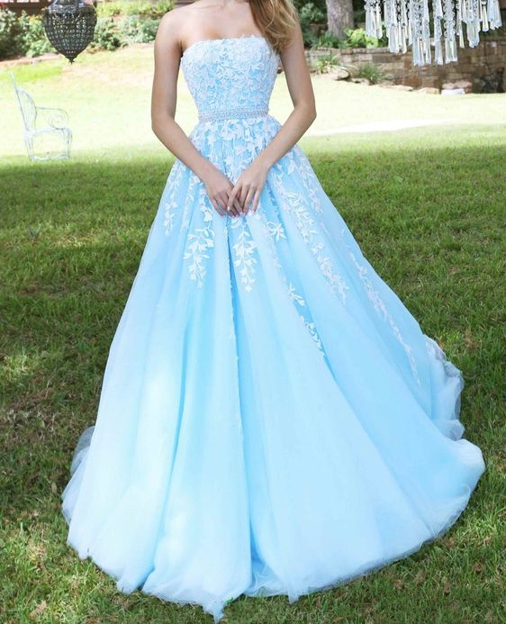 Light Blue Prom Dress, Lace Applique Prom Dress, Tulle Prom Dress, Strapless Prom Dress, Elegant Prom Dress, Prom Dresses 2018, Puffy Prom Dress, Cheap Prom Dress, Women Formal Dress