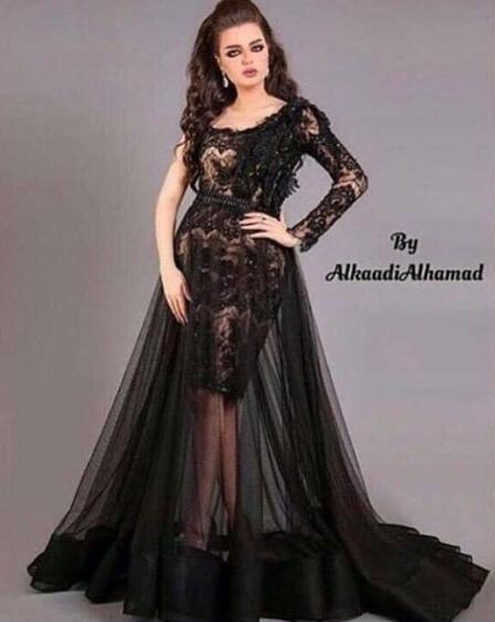 Black Prom Dress, One Shoulder Prom Dress, Lace Applique Prom Dress, Sexy Prom Dress, Elegant Prom Dress, Long Sleeve Prom Dress, Saudi Arabic Prom Dress, Prom Dresses 2018, Vestido De Festa