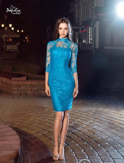 Short Evening Dress, Mermaid Evening Dress, Elegant Evening Dress, Lace Evening Dress, High Neck Evening Dress, Blue Evening Dress, Evening Dresses 2018, Sexy Evening Dress, Half Sleeve Evening Dress, Cheap Evening Dress