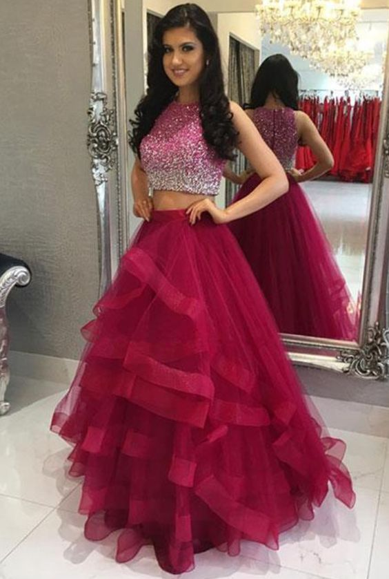 Hot Pink Prom Dress, Beaded Prom Dress, Two Piece Prom Dress, Prom Dresses 2018, Tiered Prom Dress, A Line Prom Dress, Cheap Prom Dress, O Neck Prom Dress, Tulle Prom Dress
