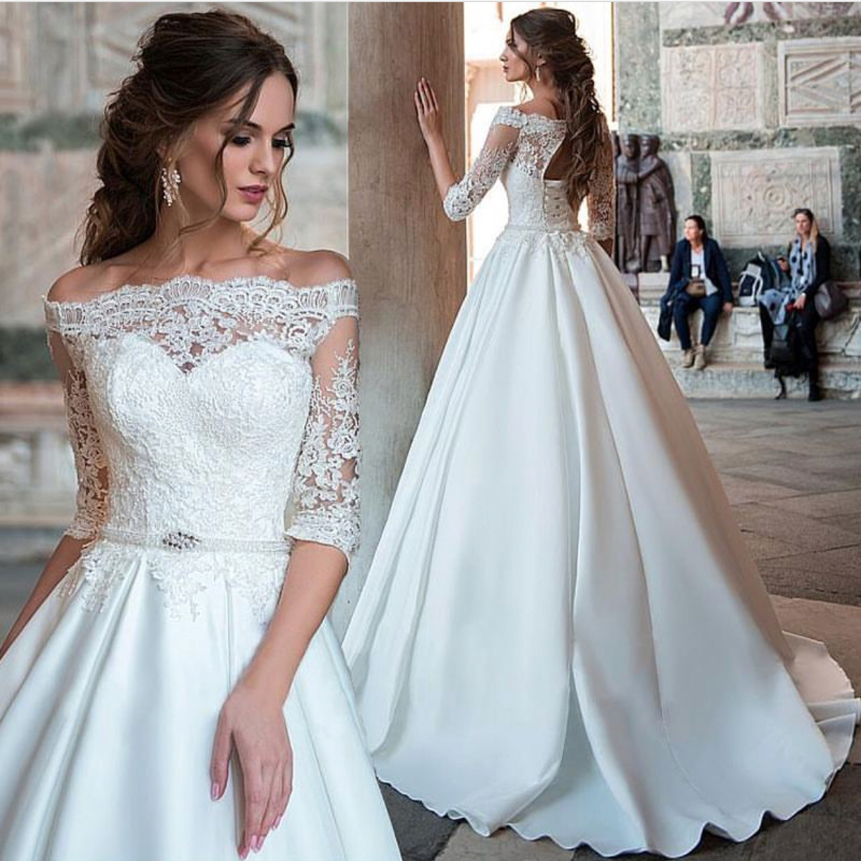 Wedding Gowns Lace Sleeves: Half Sleeve Wedding Dress, Lace Wedding Dress, Satin