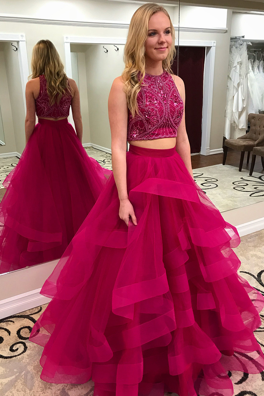 Hot Pink Prom Dress 2 Piece Prom Dresses Tiered Prom Dress Beaded