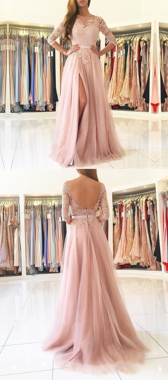 Long Sleeve Prom Dress, Pink Prom Dress, Lace Applique Prom Dress, Cheap Prom Dress, Prom Dresses 2019, Elegant Prom Dress, A Line Prom Dresses, Prom Dresses Long, Vestido De Festa