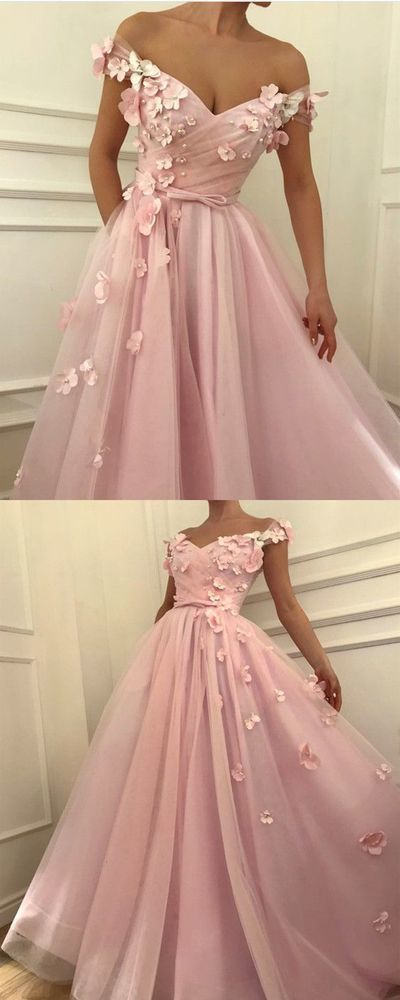 Pink Prom Dress, Handmade Flowers Prom Gown, Off the Shoulder Prom Dress, Elegant Prom Dress, V Neck Prom Dress, Prom Dresses 2019, Vestido De Festa, Robe De Soiree