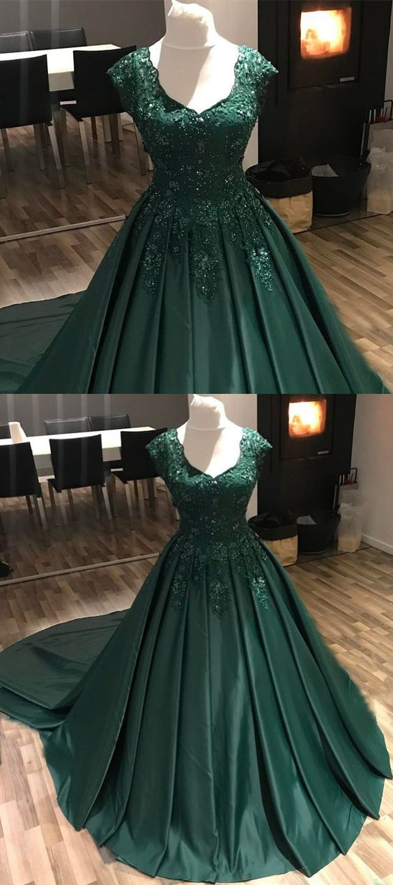 cap sleeve hunter green prom dresses 2020 lace applique beaded elegant satin a line prom gown robe de soiree