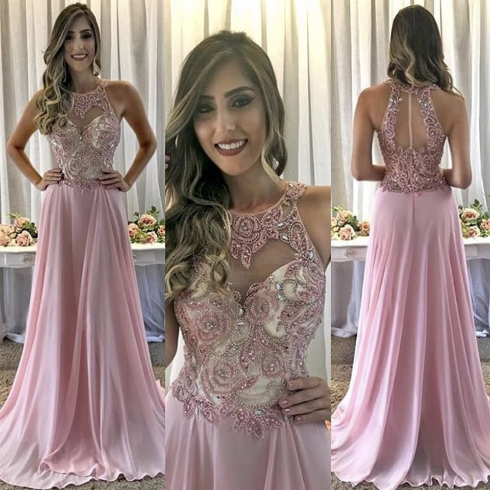 halter pink prom dresses long chiffon beaded a line crystals cheap prom gown vestido de festa 2020