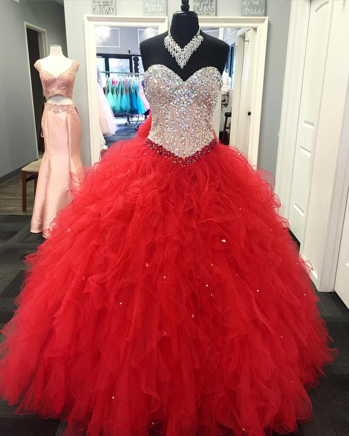 red quinceanera dresses crystals beaded princess tiered elegant real photo ball gown prom dresses vestido de graduacion