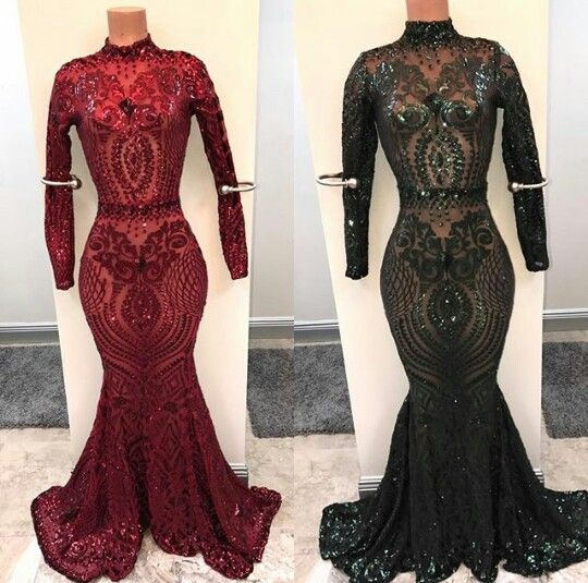 sparkly sexy formal dresses long sleeve 2020 black evening dresses sequin applique mermaid elegant modest high neck burgundy evening gown