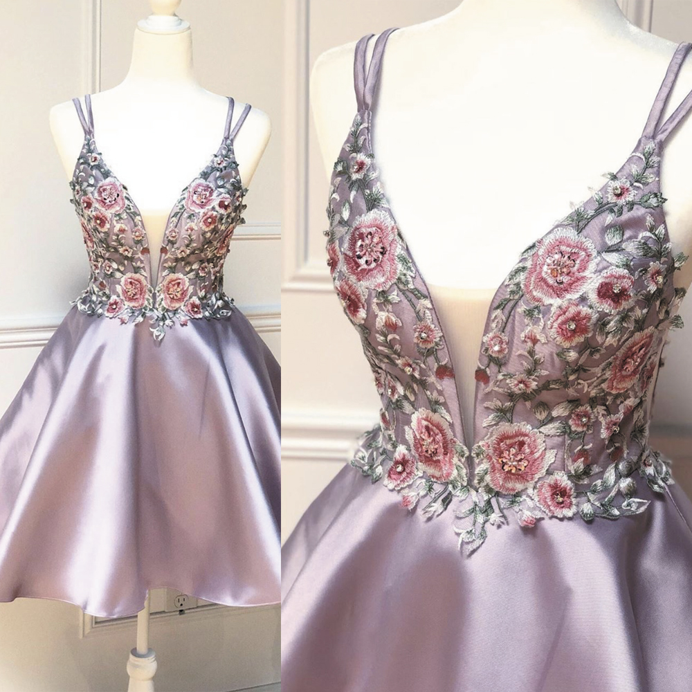 rose pink prom dresses short embrodiery applique beaded spaghetti strap knee length cheap prom gown robe de soiree
