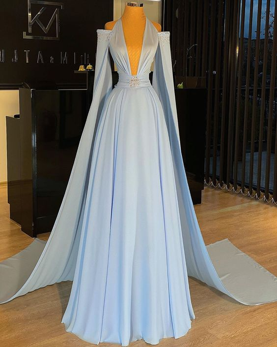 blue prom dresses long chiffon beaded dubai fashion elegant cheap a line prom gown 2021 robe de soiree