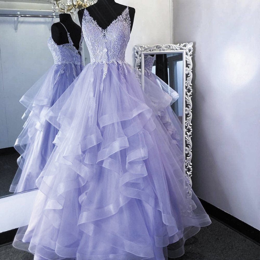 purple tiered prom dresses lavender lace applique v neck elegant simple cheap prom gown 2021 robe de soiree