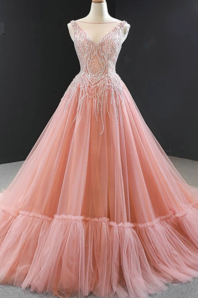 beaded prom dresses ball gown 2020 real photo pink elegant luxury prom gown 2021 vestido de fiesta