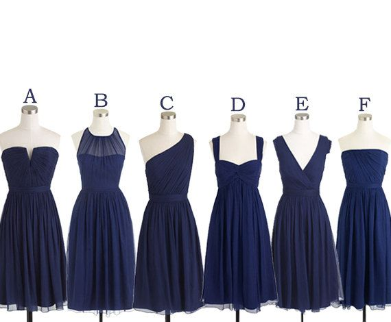 Chiffon Short Navy Blue Bridesmaid Dress, Junior Bridesmaid Dress, Mismatched Bridesmaid Dress, Cheap Bridesmaid Dress, Wedding Guest Dress, 2016 Bridesmaid Dress, Custom Bridesmaid Dress, Real Photo Bridesmaid Dress, A Line Bridesmaid Dress