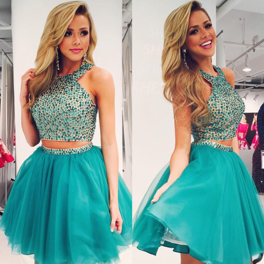 Rhinestones Party Dress, Short Homecoming Dress, Teal Green ...