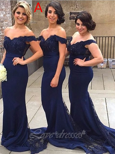 Navy Blue Long Mermaid Bridesmaid Dresses Lace Beaded Cheap Bridesmaid Dress 2016 Bridesmaid Dresses For Women Cap Sleeve Elegant Bridesmaid Dress
