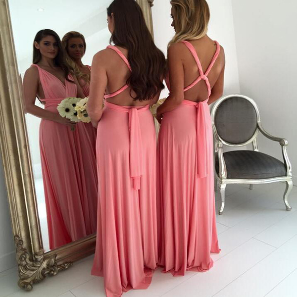 Backless Sexy Long Bridesmaid Dress V Neck Coral Elegant Cheap Women