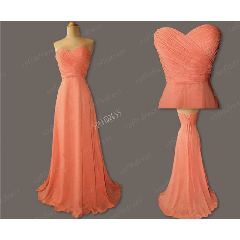 Coral Colored Long Bridesmaid Dress, Chiffon Cheap Simple Bridesmaid Dress, Custom Fitted Elegant Bridesmaid Dress, Wedding Party Dresses 2016, Dresses For Weddings