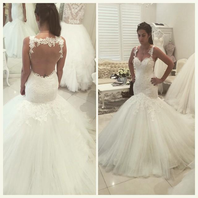 Ivory Mermaid Sheer Back Wedding Dress Lace Applique Cheap Wedding