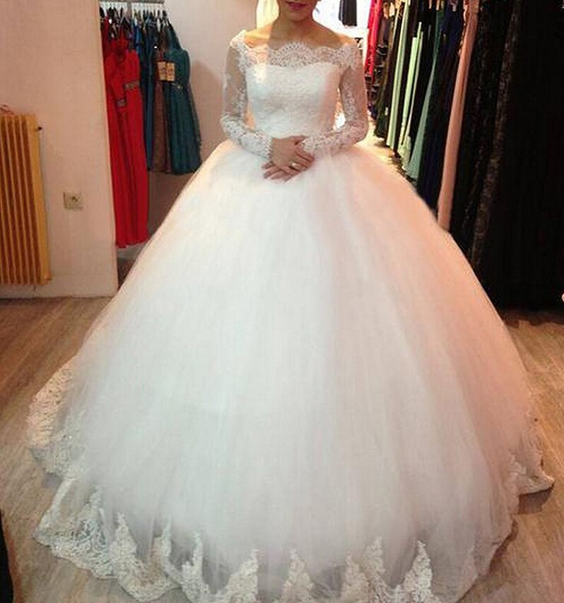 Boat Neck Lace Sleeves Wedding Dress Tulle Ivory Lique Puffy Elegant Custom Make Long Sleeve Bridal Gowns