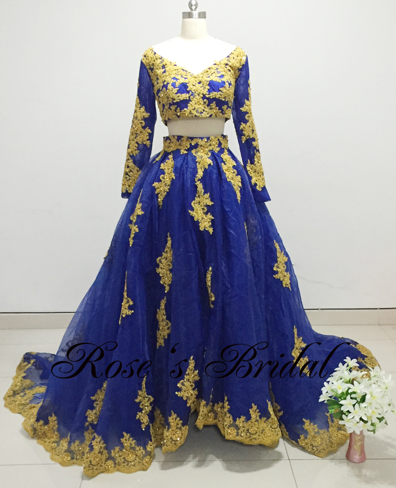 Sexy V Neck Wedding Dress, Royal Blue Elegant Wedding Dress, Lace Applique Cheap Wedding Dress, Two Piece Wedding Dresses 2016, Long Sleeve Luxury Wedding Dress, Affordable Wedding Ball Gowns