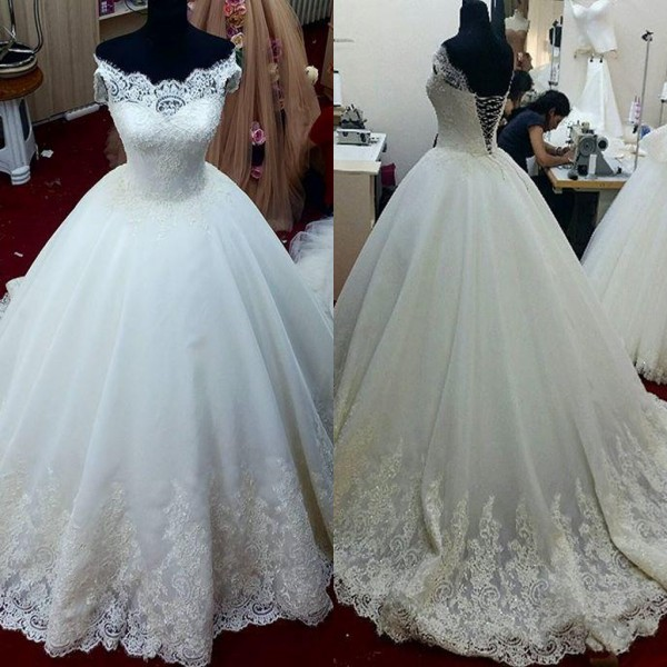 Cap Sleeves Lace Applique Wedding Dress, Ivory Puffy Tulle Cheap ...