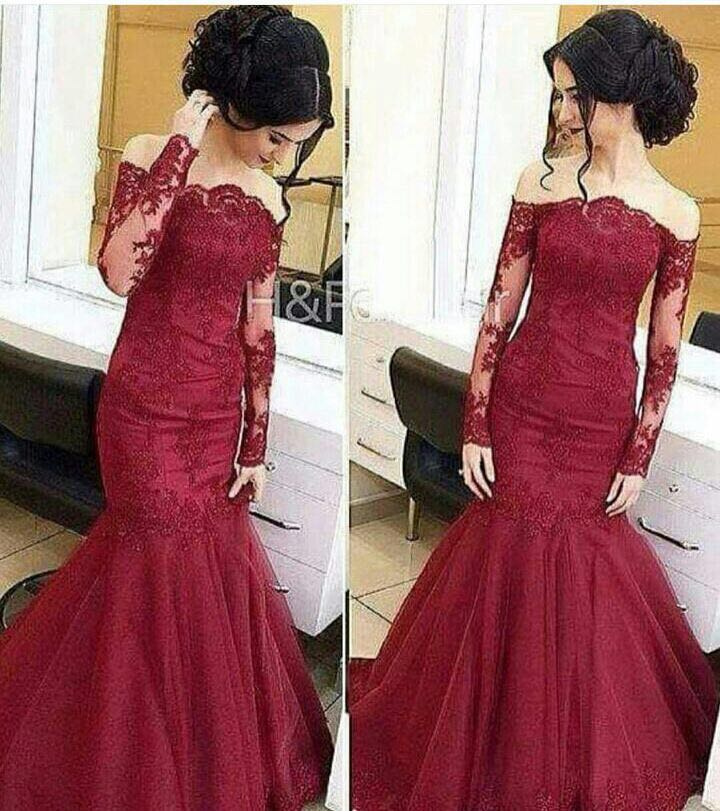 afaeb37254 Wine Red Colored Lace Evening Dress