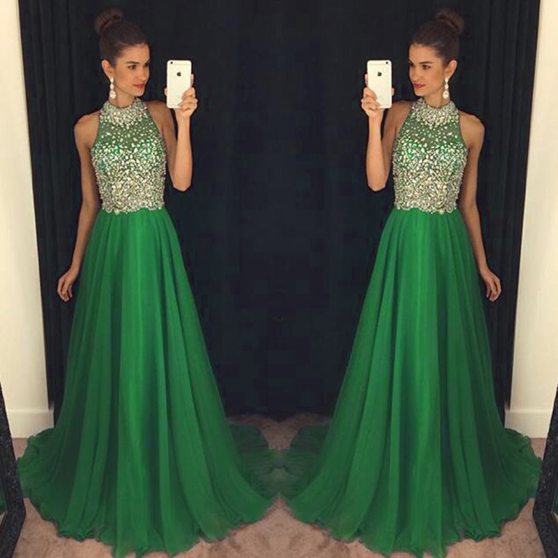 High Neck Hunter Green Prom Dress A Line Tulle Prom Dress