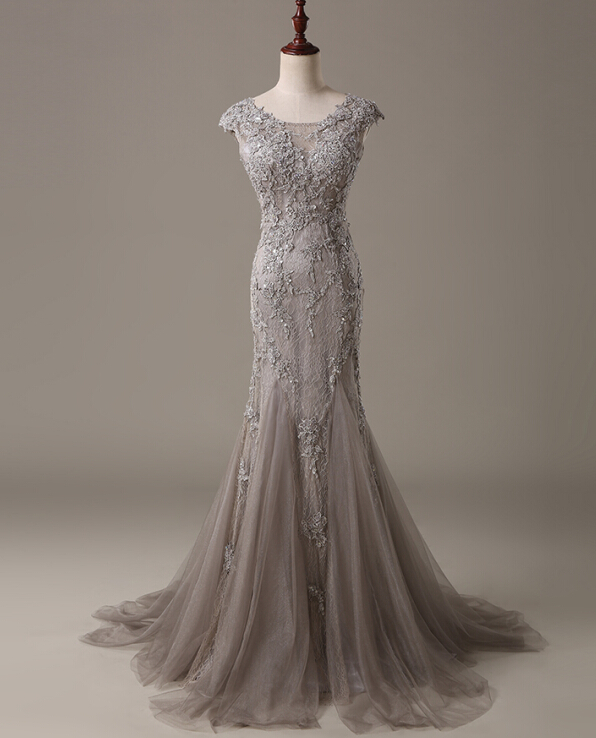 Silver Grey Evening Dress, Mermaid Evening Dress, Long Evening ...