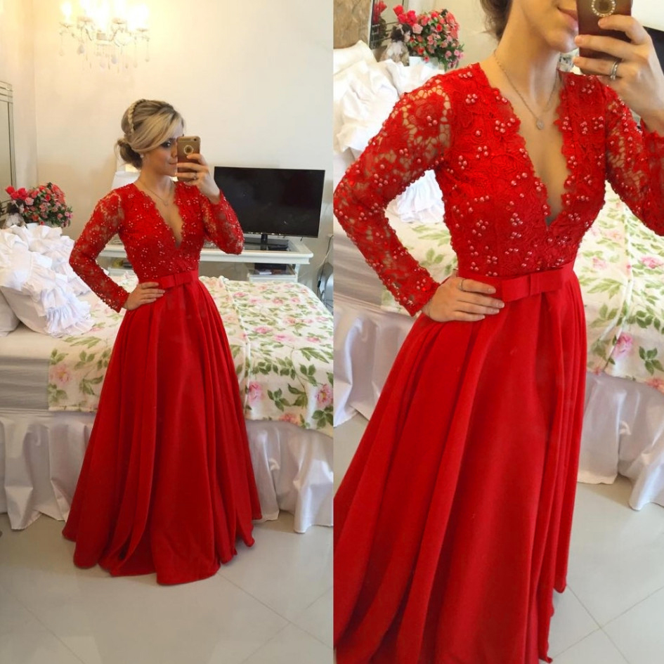 Red Prom Dress, Beading Prom Dress, Deep V Neck Prom Dress, Chiffon Prom Dress, Prom Dresses Long, Cheap Prom Dress