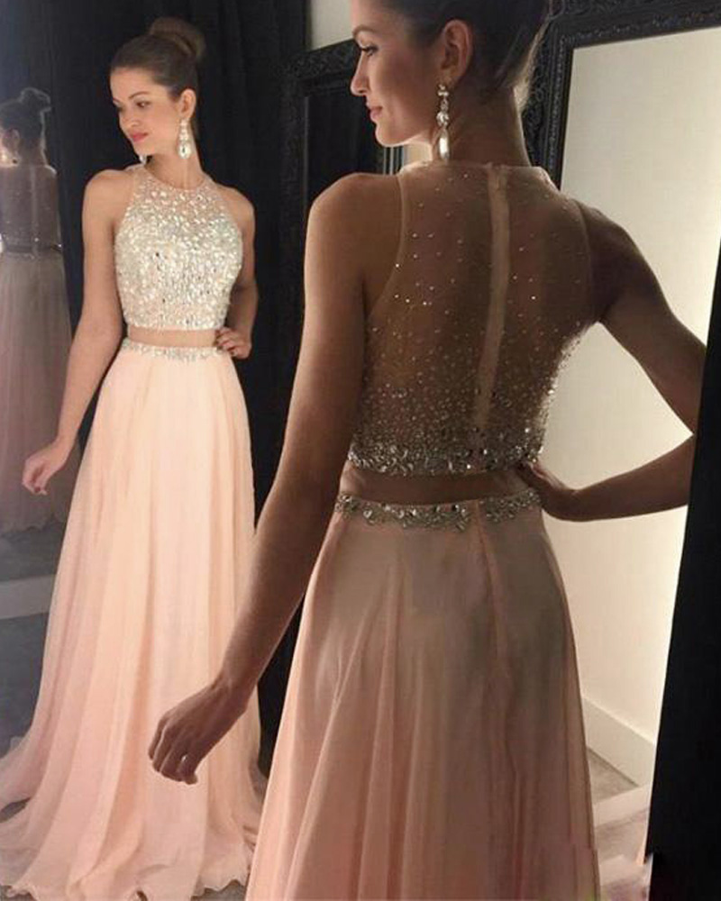 Two Piece Prom Dresses Pink Prom Dresses Crystals Prom