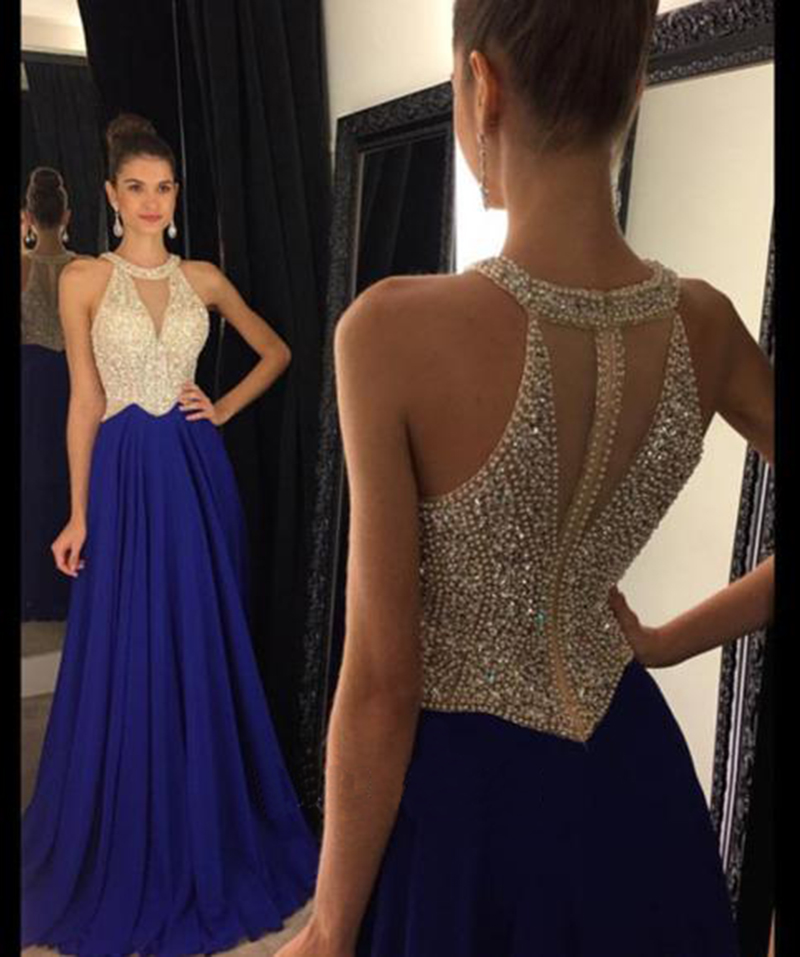 Royal Blue Prom Dress, Peals Prom Dress, Chiffon Prom Dress, Prom ...