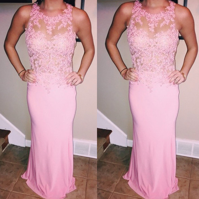 Pink Prom Dress, Mermaid Prom Dress, Lace Prom Dress, Prom Dresses 2017, Beaded Prom Dress, Chiffon Prom Dress, Long Prom Dress, Evening Dress Prom