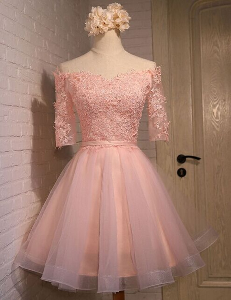 Pink Prom Dresses, Short Prom Dresses, Lace Prom Dresses, A Line ...