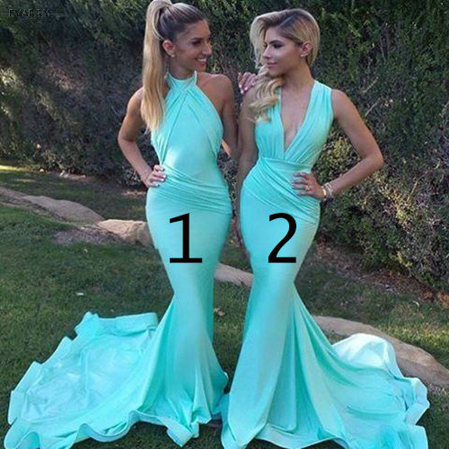 Mermaid Bridesmaid Dress Long Turquoise Blue Mismatched Dresses
