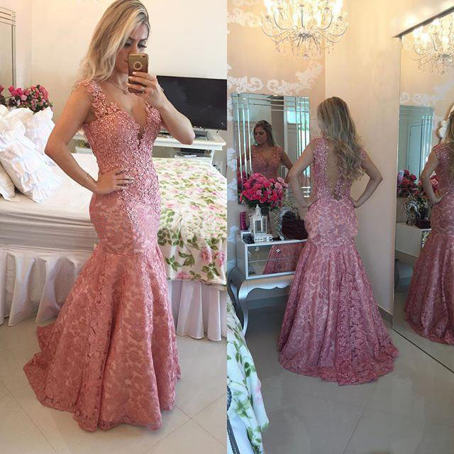 Dusty Pink Evening Dress, Mermaid Evening Dress, Lace Evening Dress, Peal Evening Dress, Sexy Evening Dress, Long Formal Dress, Backless Evening Dress, Elegant Evening Dress