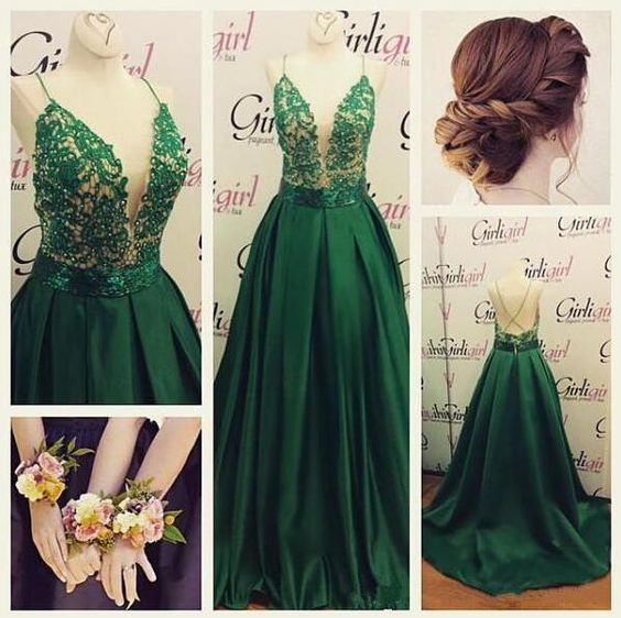 Green Prom Dress, Deep V Neck Prom Dress, Spaghetti Straps Prom Dress, Floor Length Prom Dress, Sexy Formal Dress, Backless Prom Dress, Lace Prom Dress