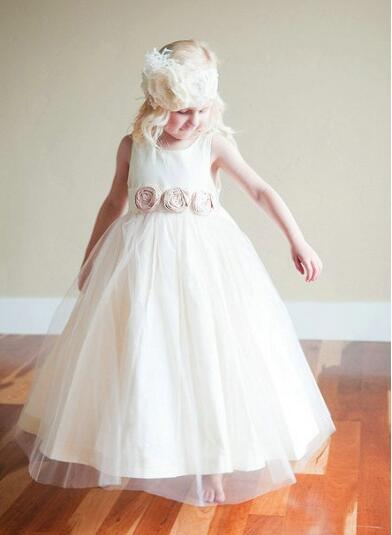 Flower Girl Dresses For Weddings, Little Girl Dresses, Handmade Flowers Pageant Dresses For Girls, White Flower Girl Dresses, 2016 First Communion Dresses