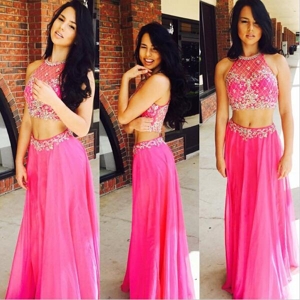 Hot Pink Prom Dress, 2 Piece Prom Dresses, Beaded Prom Dress, Sexy ...