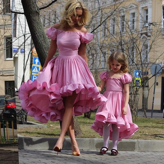 Mother Daughter Matching Dresses, Cheap Flower Girl Dress, Pink Prom Dress, Floral Prom Dress, 2017 Prom Dress, Kids Prom Gowns(price for two dresses)