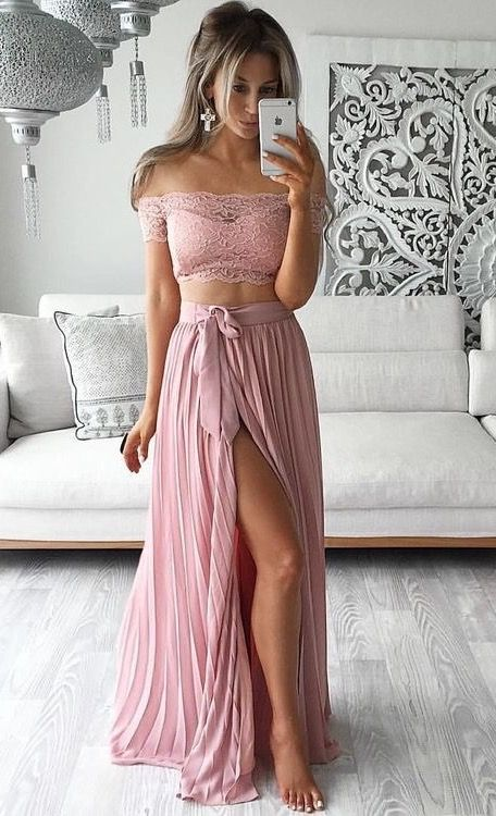 Two Piece Prom Dresses, Lace Prom Dresses, Dusty Pink Prom Dresses, Chiffon Prom Dresses, Long Prom Dresses, Cheap Prom Dresses, Prom Dresses 2017
