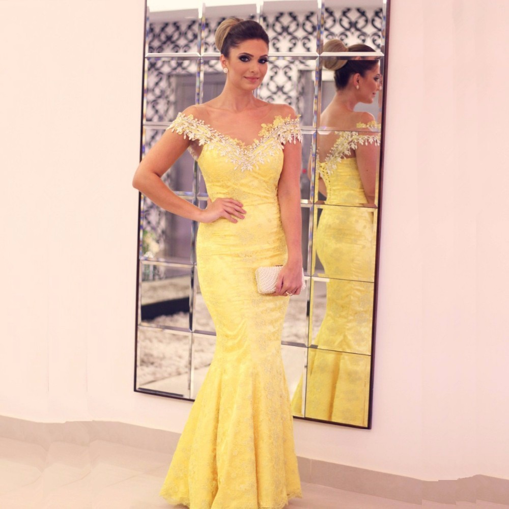 Lace Evening Dress, Yellow Evening Dress, Mermaid Evening Dress, V Neck Evening Dress, Cheap Evening Dress, Cap Sleeve Evening Dress, Long Evening Dress, Elegant Evening Dress